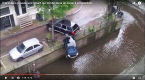 Le tournage d'un film et une voiture se retrouve dans le canal par accident