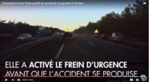 Une tesla conduite automatiquement évite un accident en freinant
