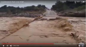 La crue d'une rivière filmée au moment où tout commence!