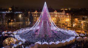 La saison des fêtes officiellement ouverte à Vilnius avec un arbre de 70 000 ampoules