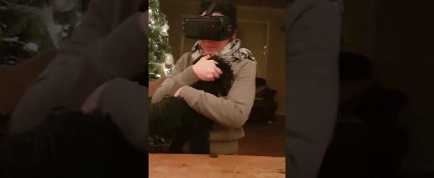 Une femme teste le casque de réalité virtuelle avec un chien dans les bras