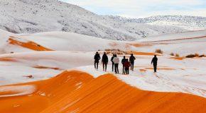 De la neige dans le désert Algérien, c'est très rare, un tel phénomène!
