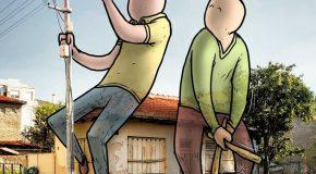 Illustrations de géants dans les villes de Turquie, c'est trop cool