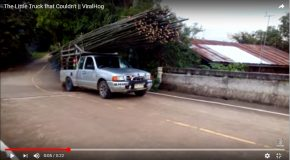 Un pick-up et son chargement de bambous en difficulté sur une route