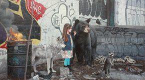 Enfants et animaux sauvages dans des peintures ultra-réalistes