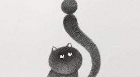 Un artiste Malaisien dessine de très beaux chats avec de l'encre
